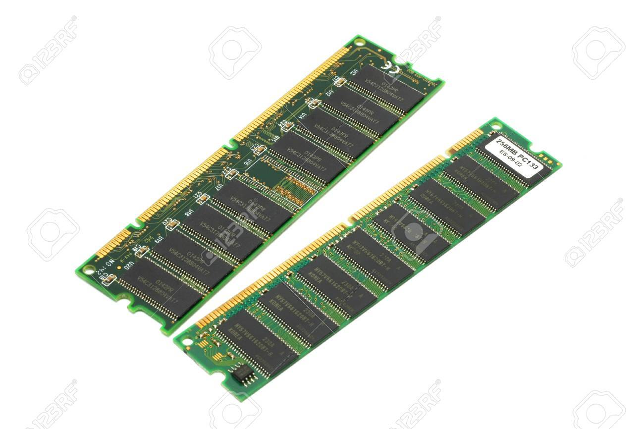 Two Pieces Of Synchronous Dynamic Random Access Memory (SDRAM).. Stock  Photo, Picture And Royalty Free Image. Image 3051624.