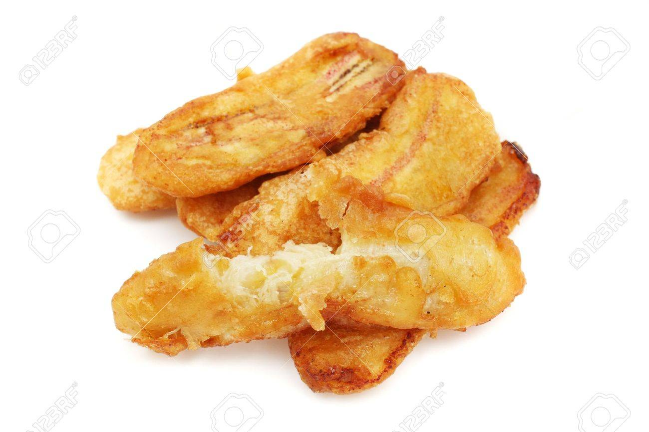 A few pieces of fried banana on white background. - 3168509