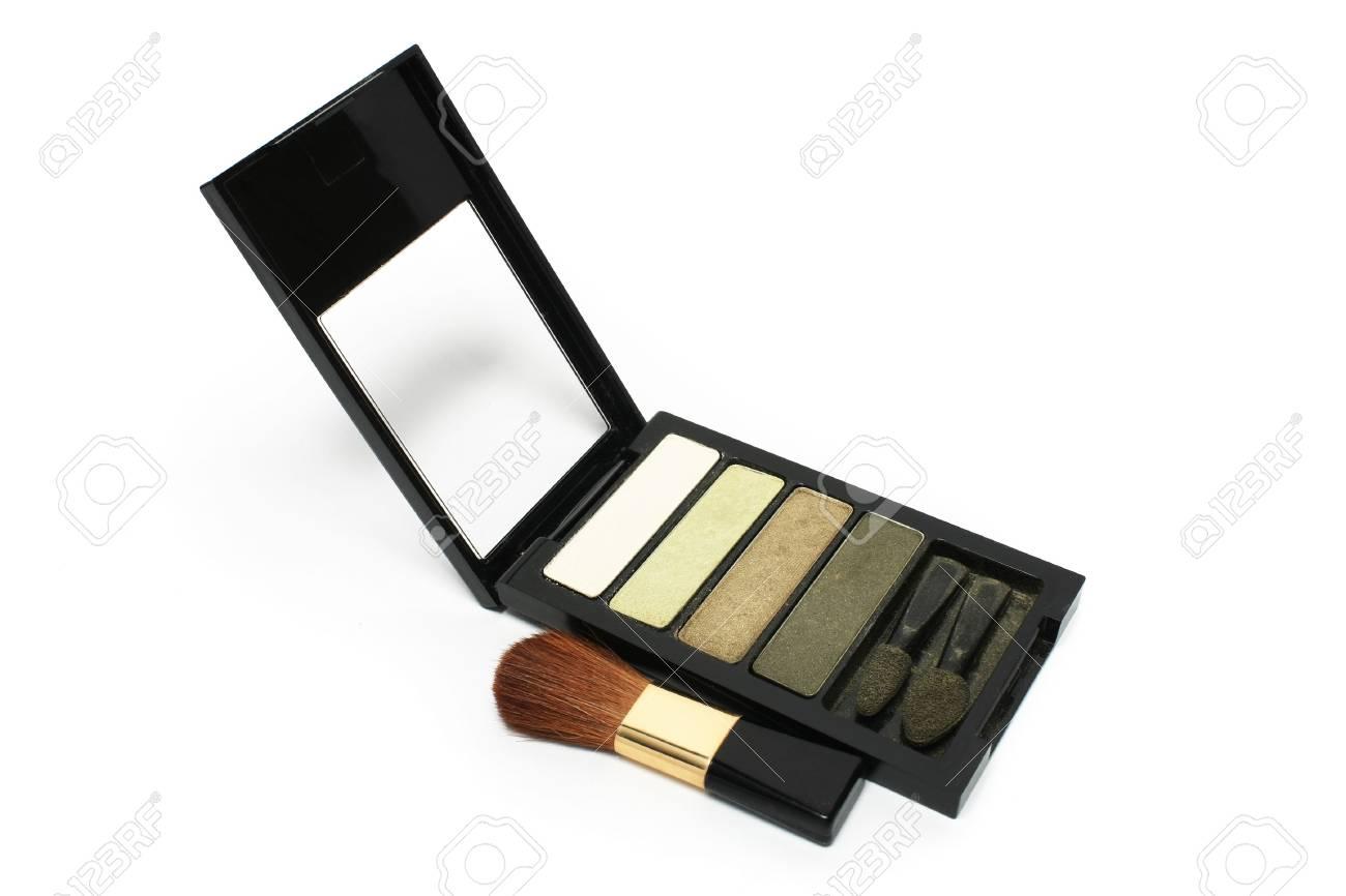 Blusher put beside eyeshadow on white background Stock Photo - 3202284