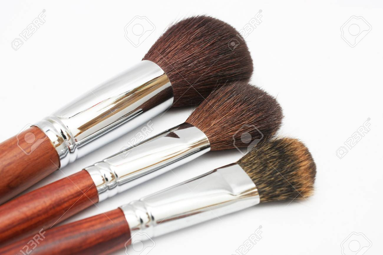 Close up of three different size blusher isolated on white background. Stock Photo - 3202288