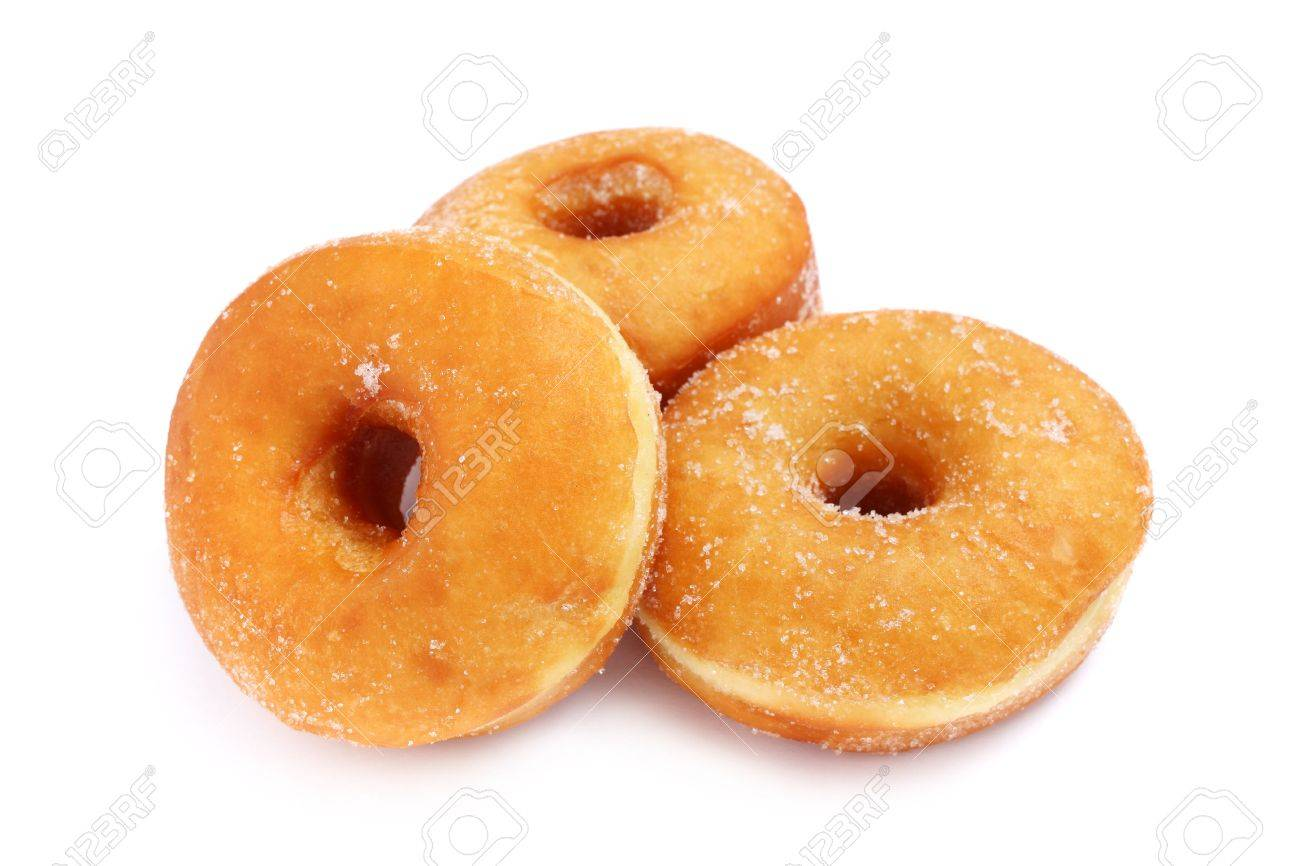 Three sweet donuts isolated on white background. - 4451942