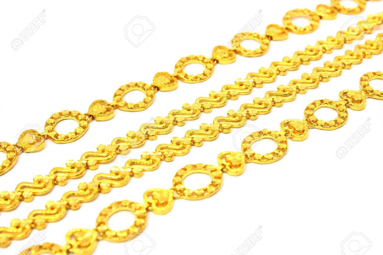 A few golden chains align in oblique angle. - 4726779