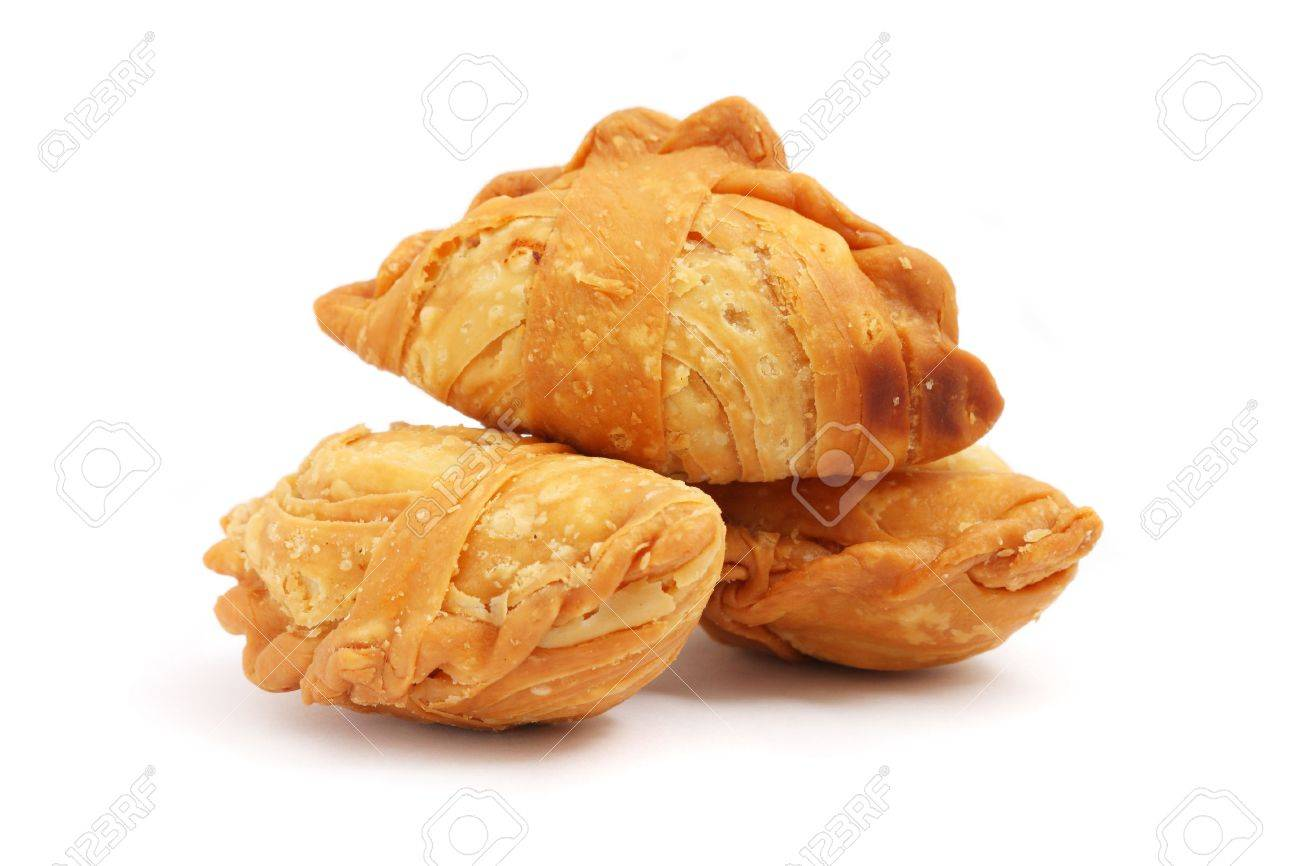 Three curry puffs isolated on white background. - 4981675