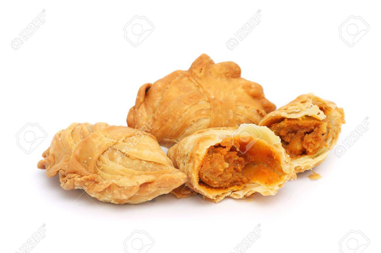 Three curry puffs isolated on white background. - 4981674