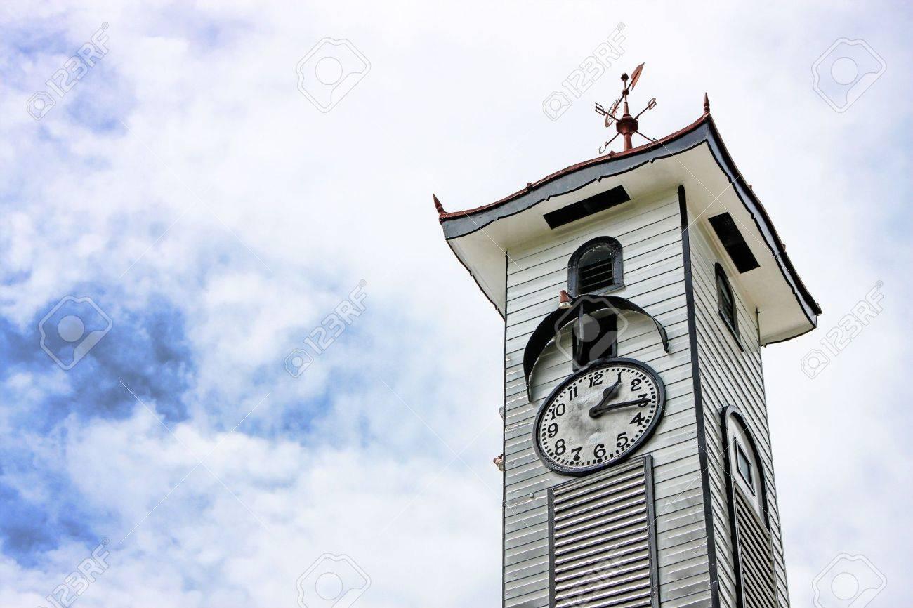 Atkinson Clock Tower over cloudy sky at Kota Kinabalu city, Sabah, Malaysia. - 5238221