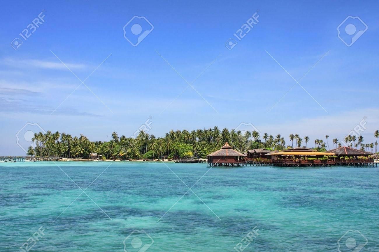 View of Sipdan water village resort at Mabul Island. - 5413162