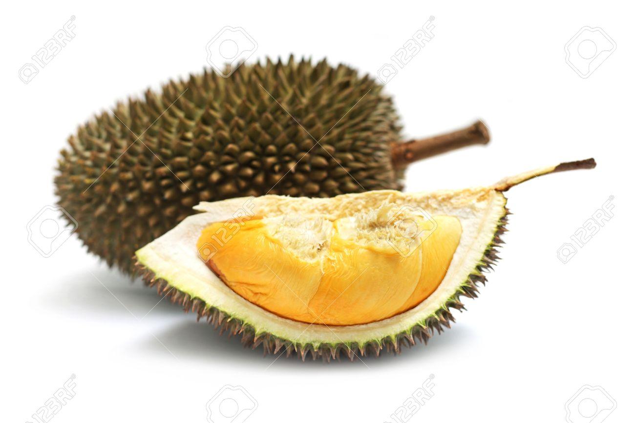Close up of peeled durian isolated on white background. - 7467310