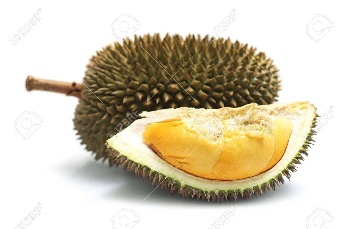 Close up of peeled durian isolated on white background. - 7467316