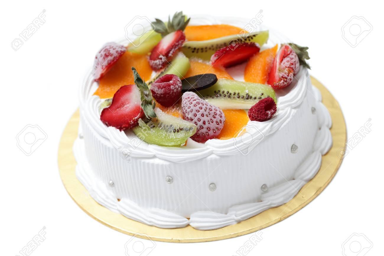 White cream cake with mixed fruity isolated on white background. - 8421121