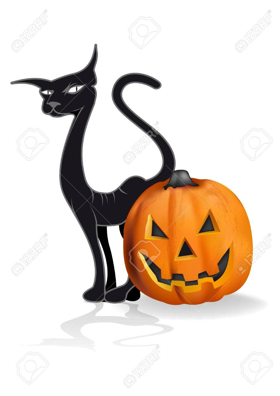 pumpkin and black cat drawing halloween royalty free cliparts