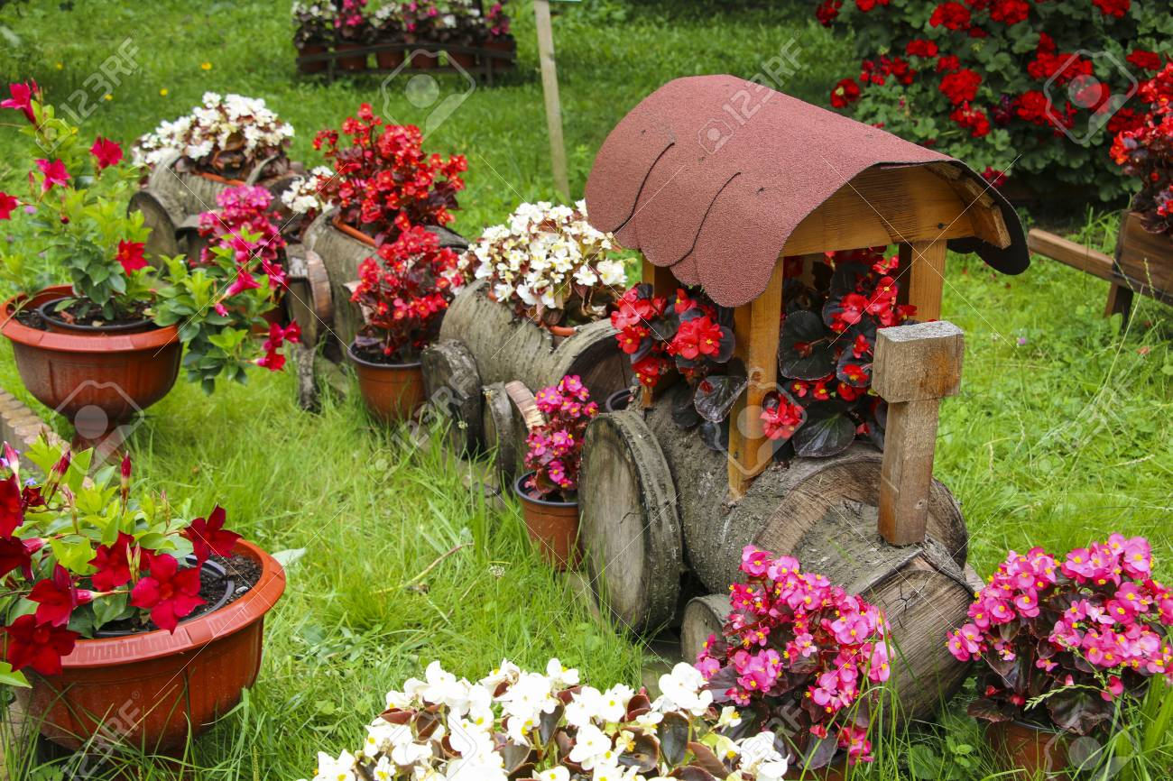 Landscape Flower Gardening Background Train And Wooden Wagon