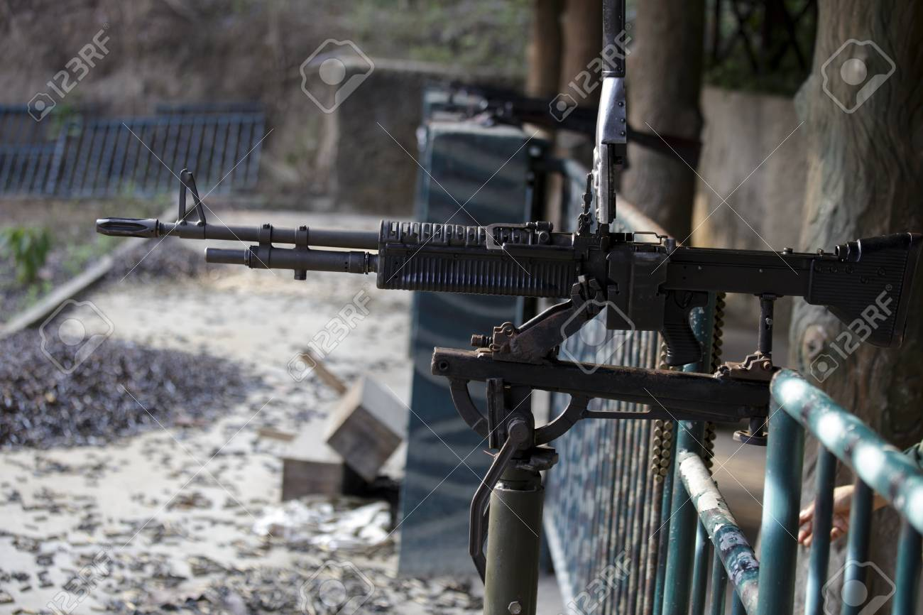 Chu Chi Tunnels, Vietnam - 22 April 2014: A ready M60 rifle down
