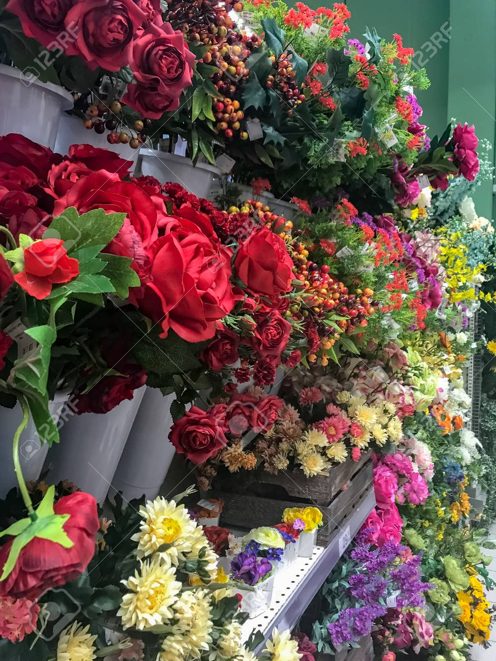 Colored Flowers In Bunches On Supermarket Shelf Stock Photo, Picture ...