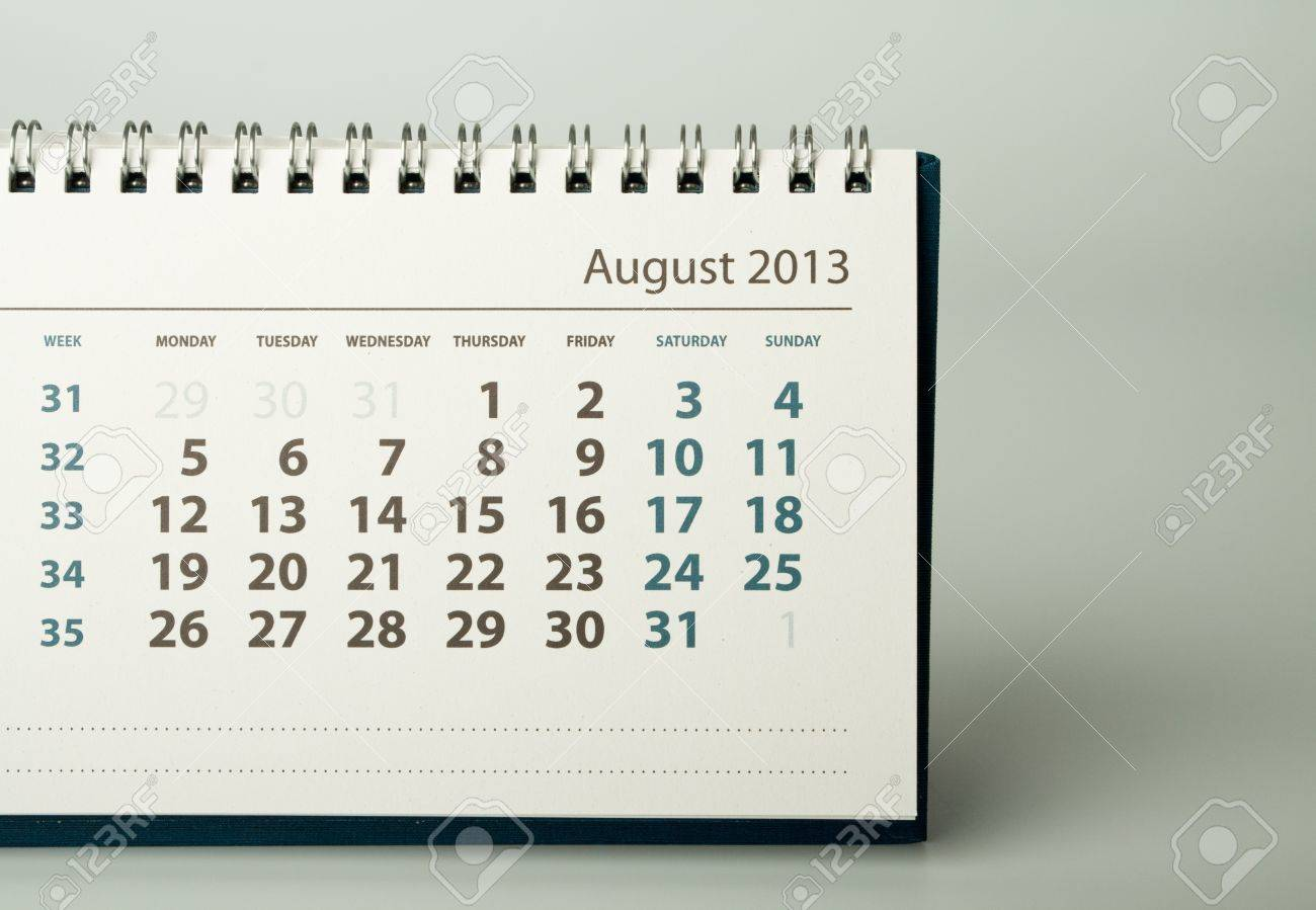 august calendar sheet 2013 year calendar stock photo picture and