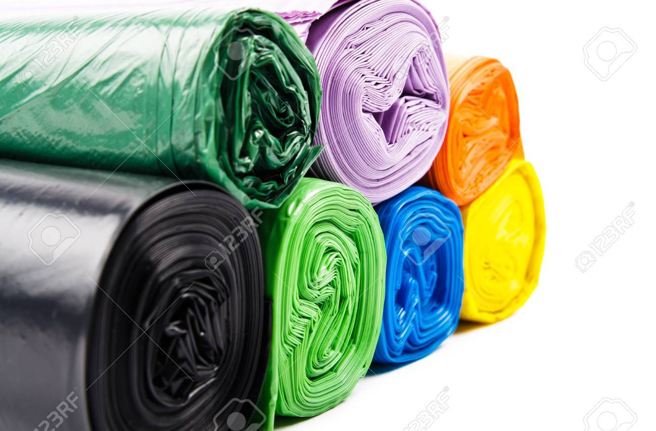 Colored garbage bags on white background - 69742745