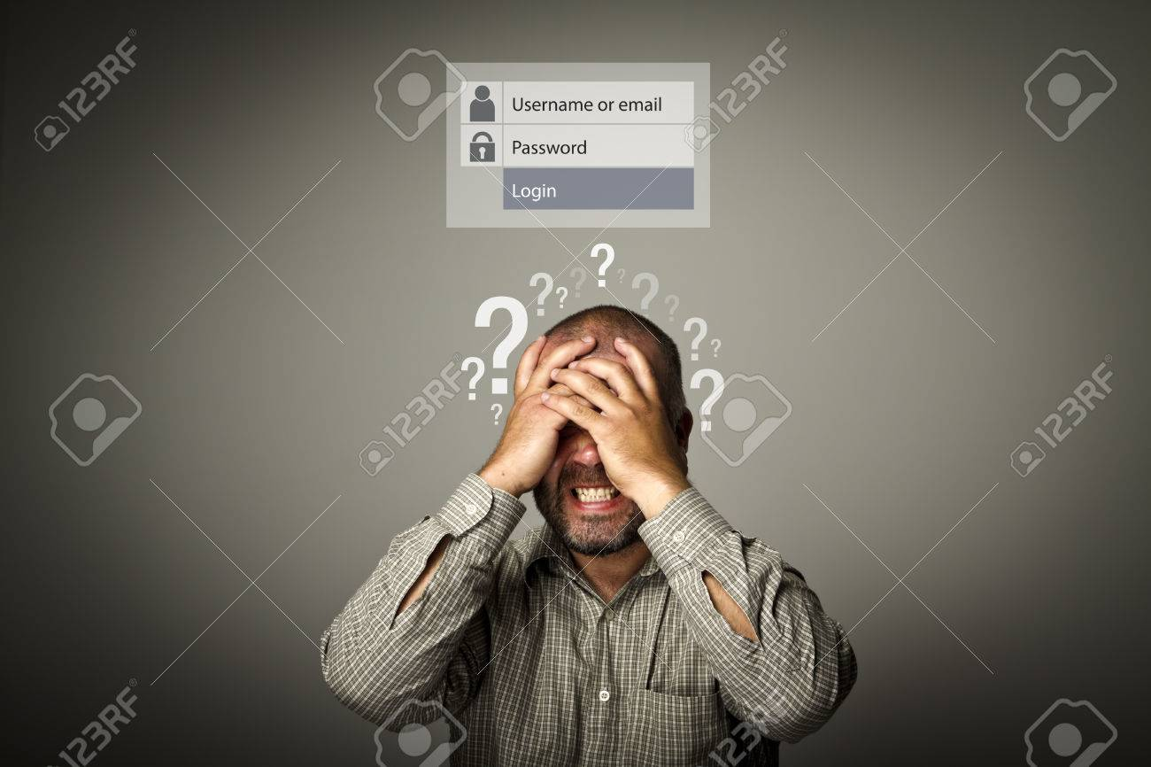 Frustrated man. Forgot password concept. Man suffering from headache. Question-marks. - 72360748