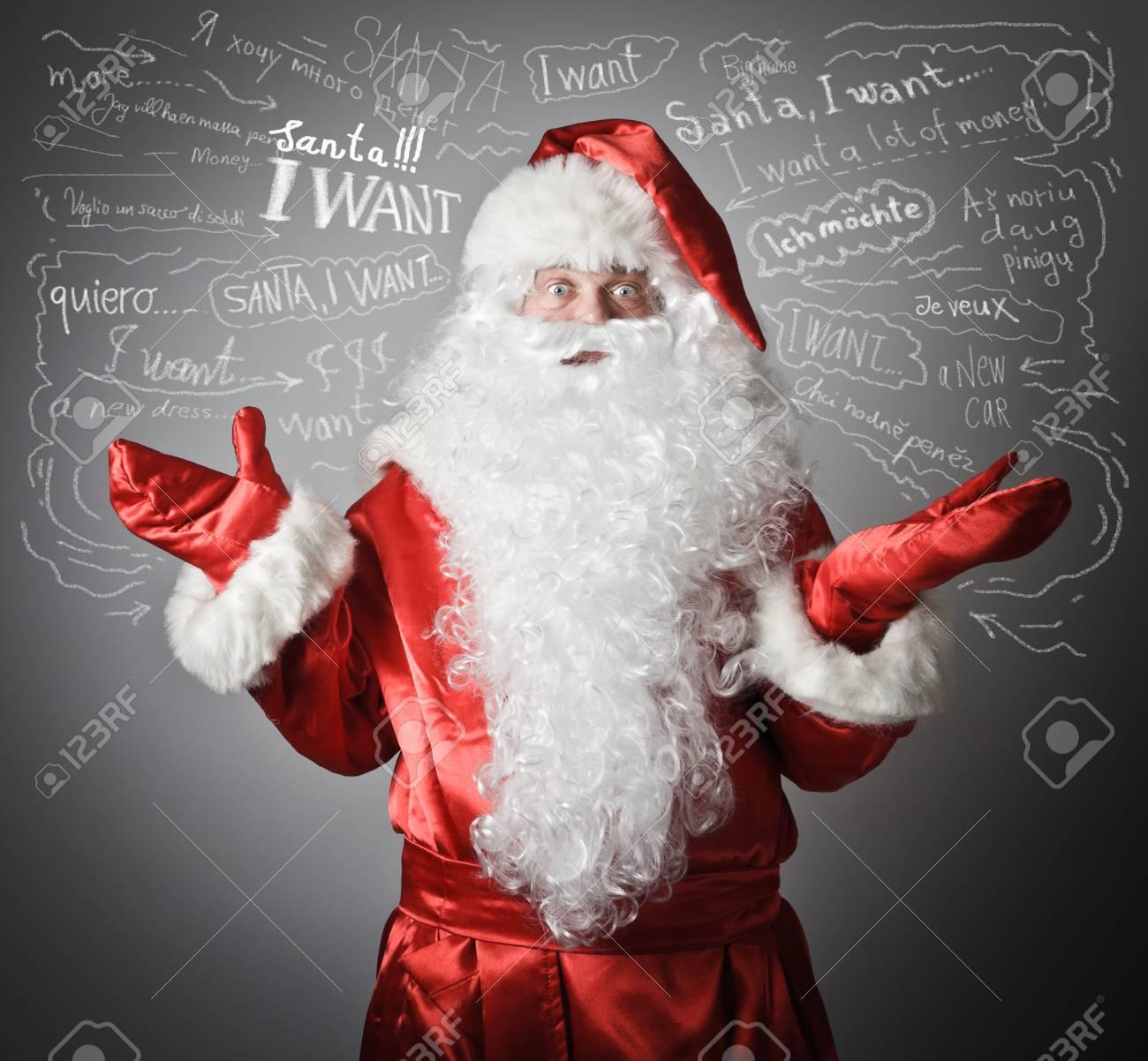 Verwirrung Von Einem Weihnachtsmann Und Viele Wünsche Lizenzfreie ...