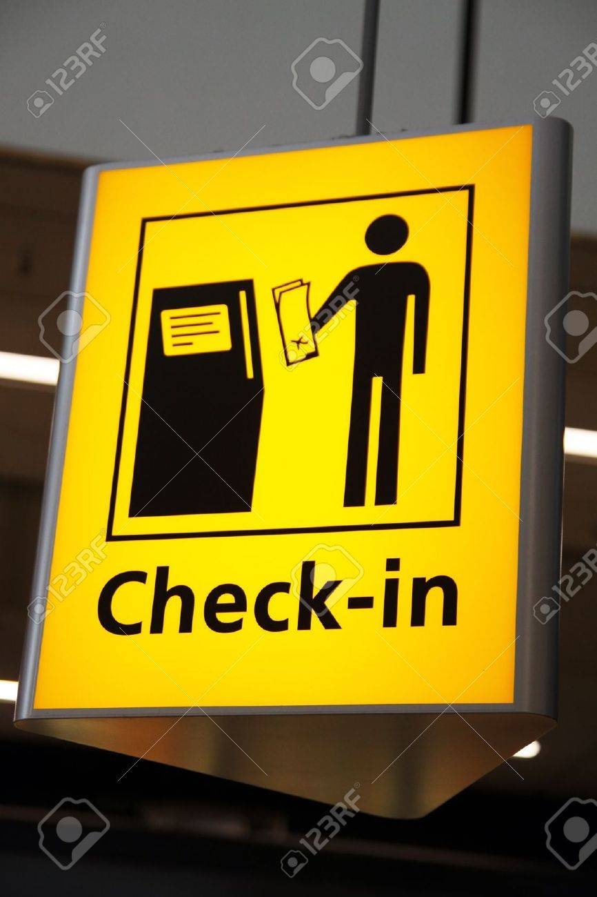 Airport Sign - Check-in Sign At Shiphol Amsterdam Stock Photo ...