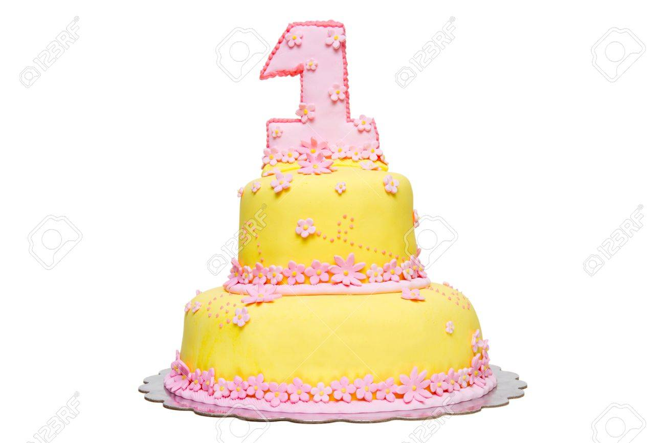 Happy First Birthday Yellow Fondant Cake On A White Background Stock