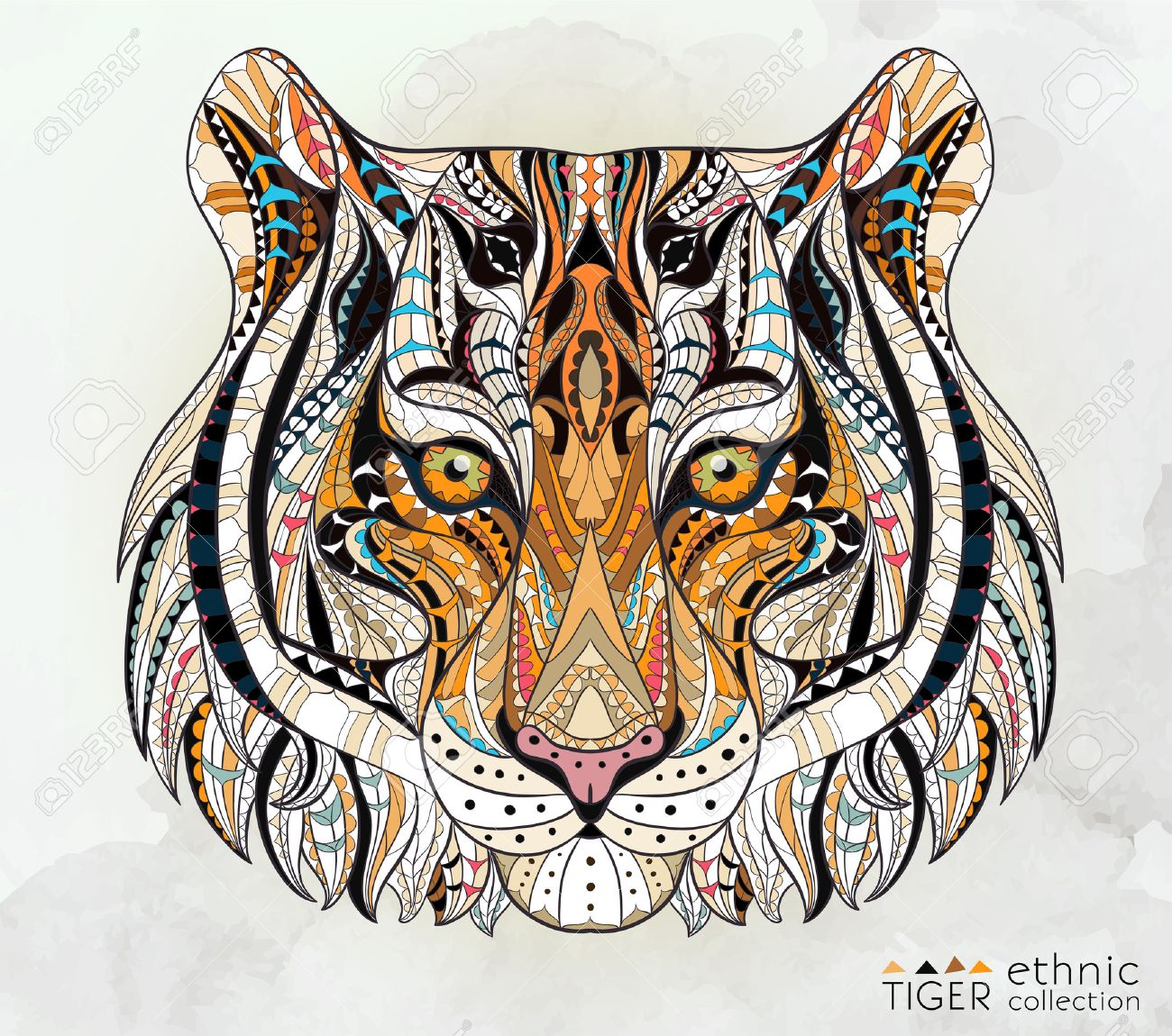 Patterned Head Of The Tiger On The Grunge Background African