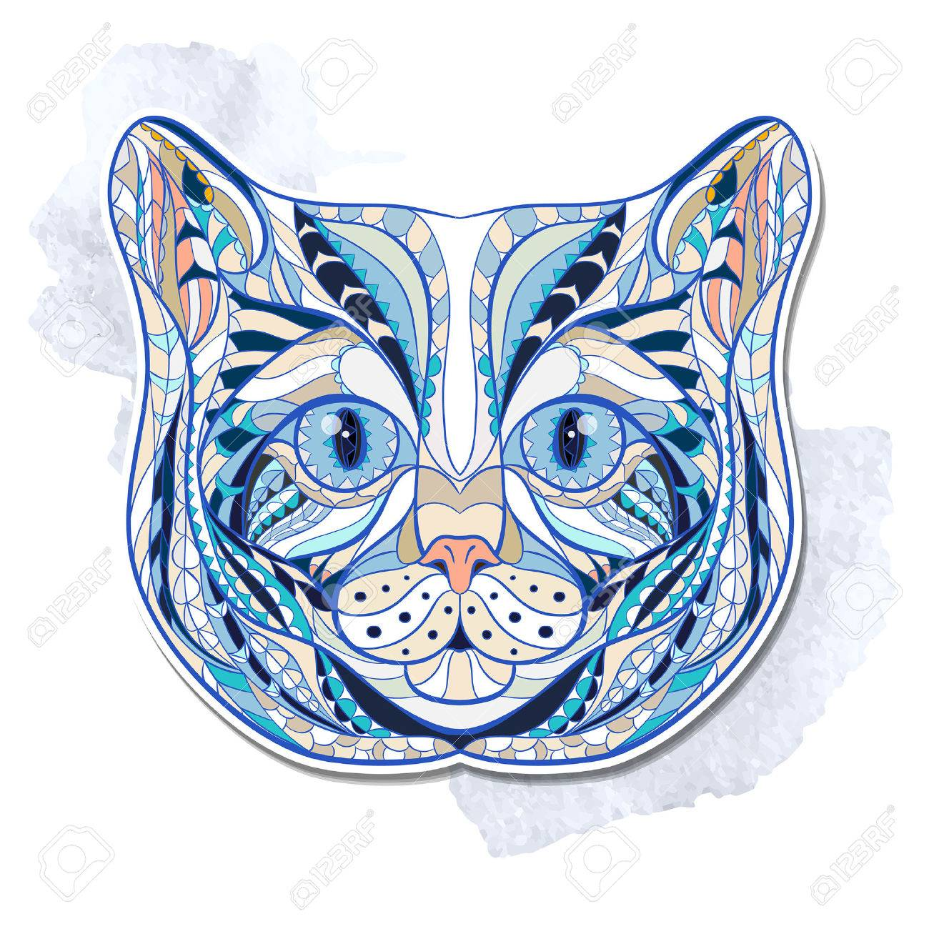Ethnic patterned head of cat on the grange background/ african / indian / totem / tattoo design - 44179258