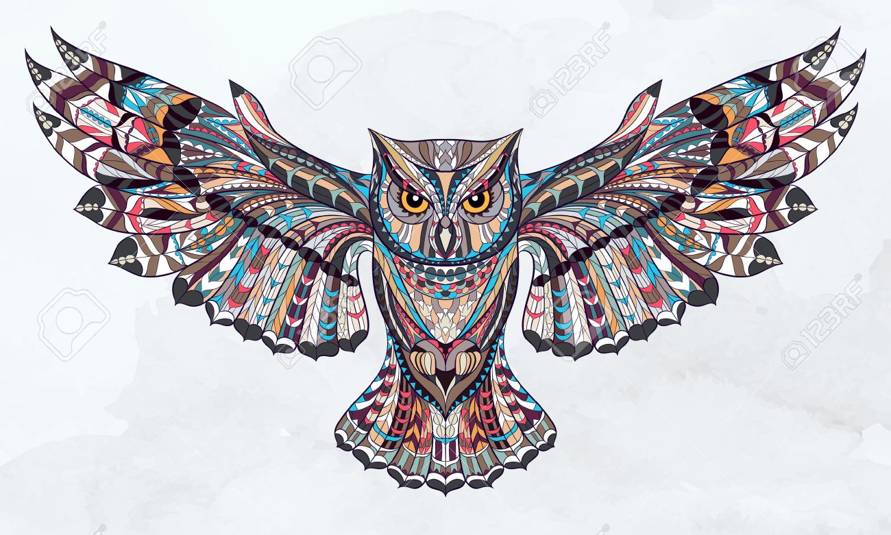 Patterned owl on the grunge watercolor background. African / indian / totem / tattoo design. It may be used for design of a t-shirt, bag, postcard, a poster and so on. Stock Vector - 44179468