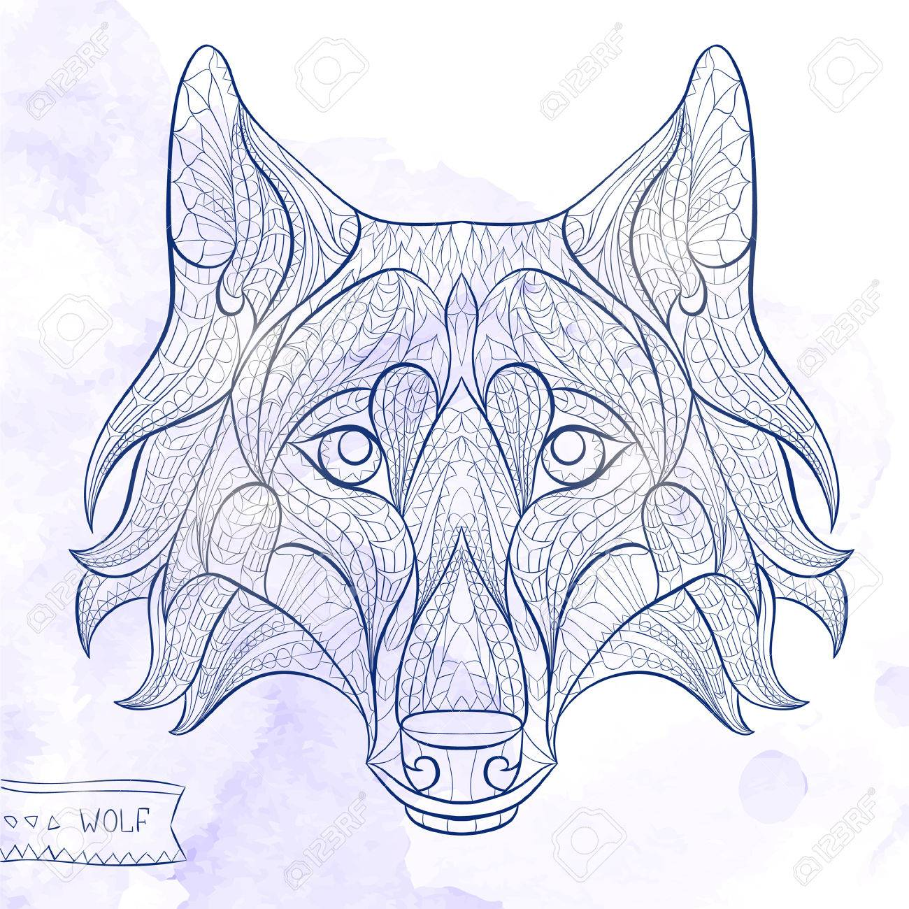 Patterned head of the wolf on the grunge background. African / indian / totem / tattoo design. It may be used for design of a t-shirt, bag, postcard, a poster and so on. - 44179716