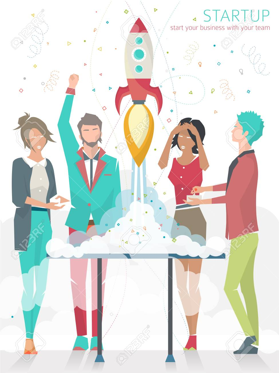 Concept of startup with rocket. Start business with your team - 44183983