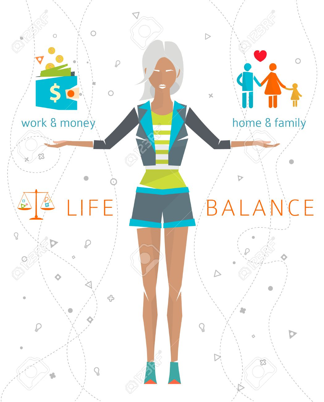Concept Of Work And Life Balance / Dividing Of Human Energy Between  Important Life Spheres /