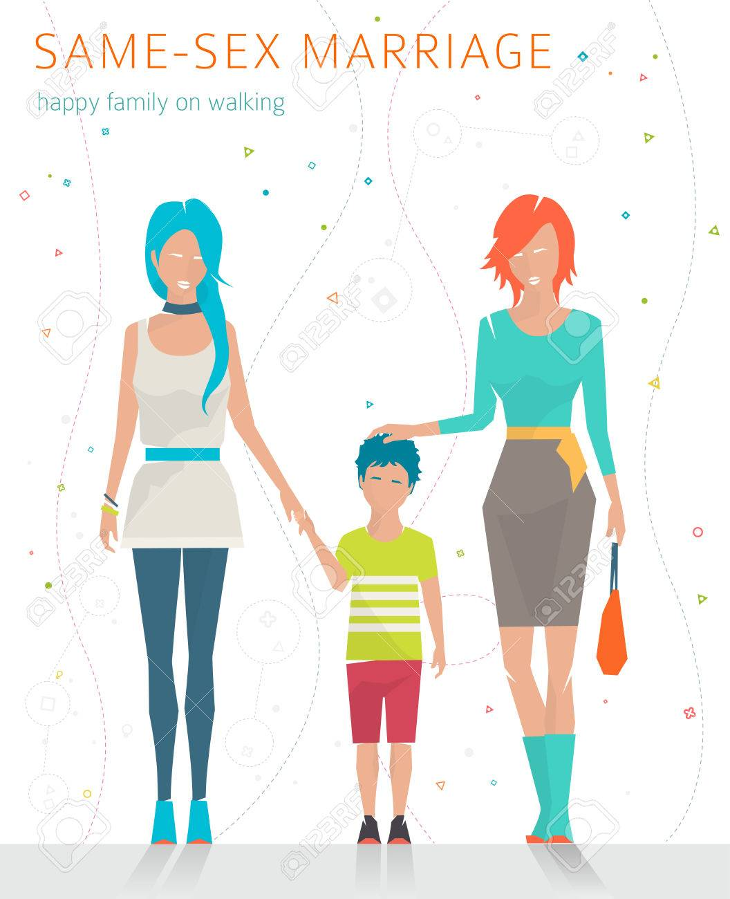 Concept of same-sex marriage  Happy family is going for a walk