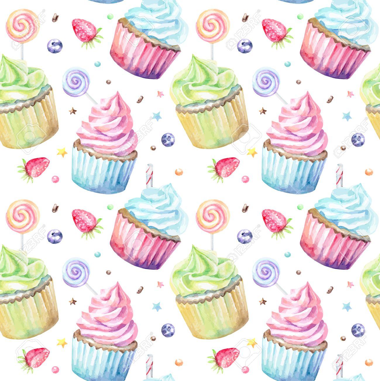 se leckere aquarell muster mit kleinen kuchen von hand gezeichnet hintergrund vektor illustration - Kuchen Muster