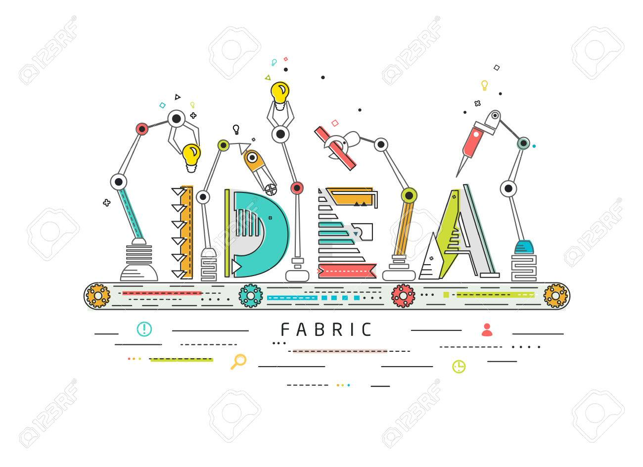 Concept of creating and building idea / Robotic production line / manufacturing and machine / typography - 55087101