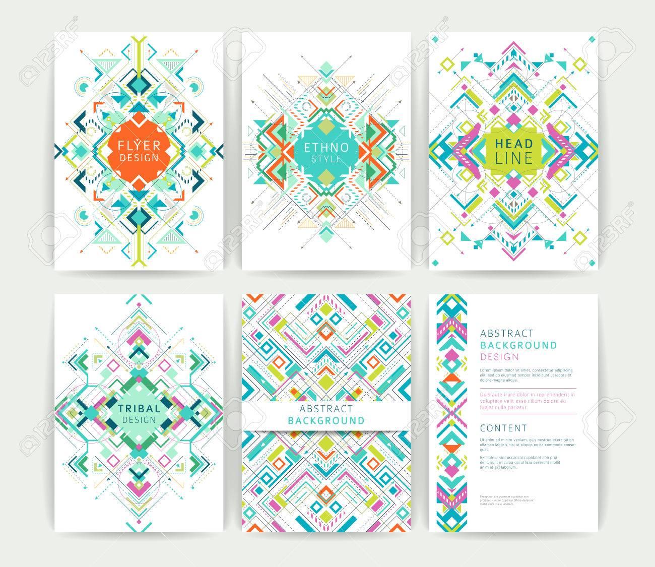 Set Von Geometrischen Abstrakten Bunten Flyer / Broschüre Vorlagen ...
