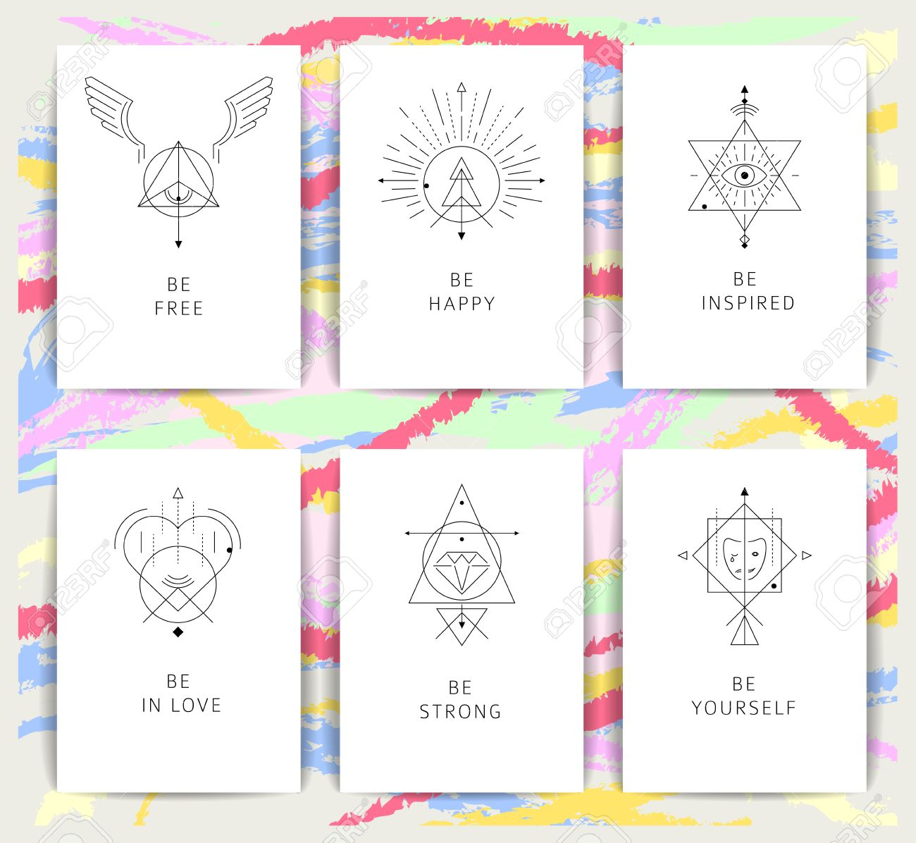 Set of vector geometric alchemy symbols with inspired phrases set of vector geometric alchemy symbols with inspired phrases abstract occult and mystic signs reheart Images