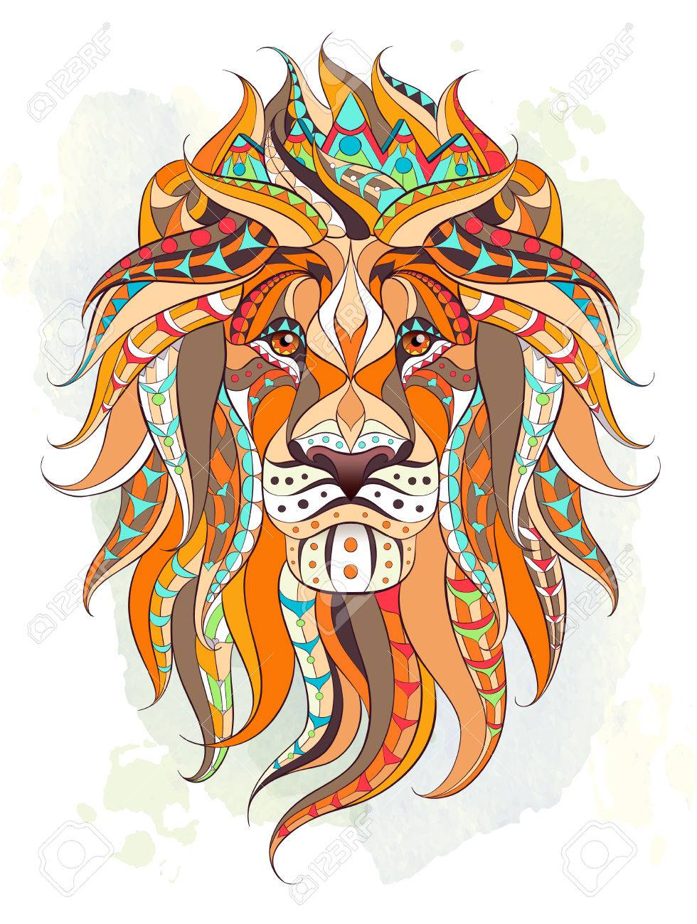Patterned Head Of The Lion On The Grunge Background Leo With