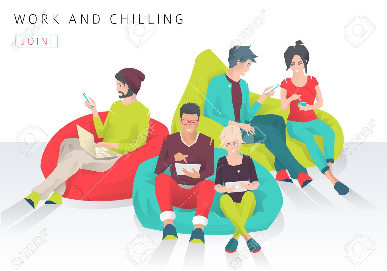 Young people sit on bean bag with different gadgets and exchange ideas. Discussion and chilling. Modern flat vector illustration - 74423160