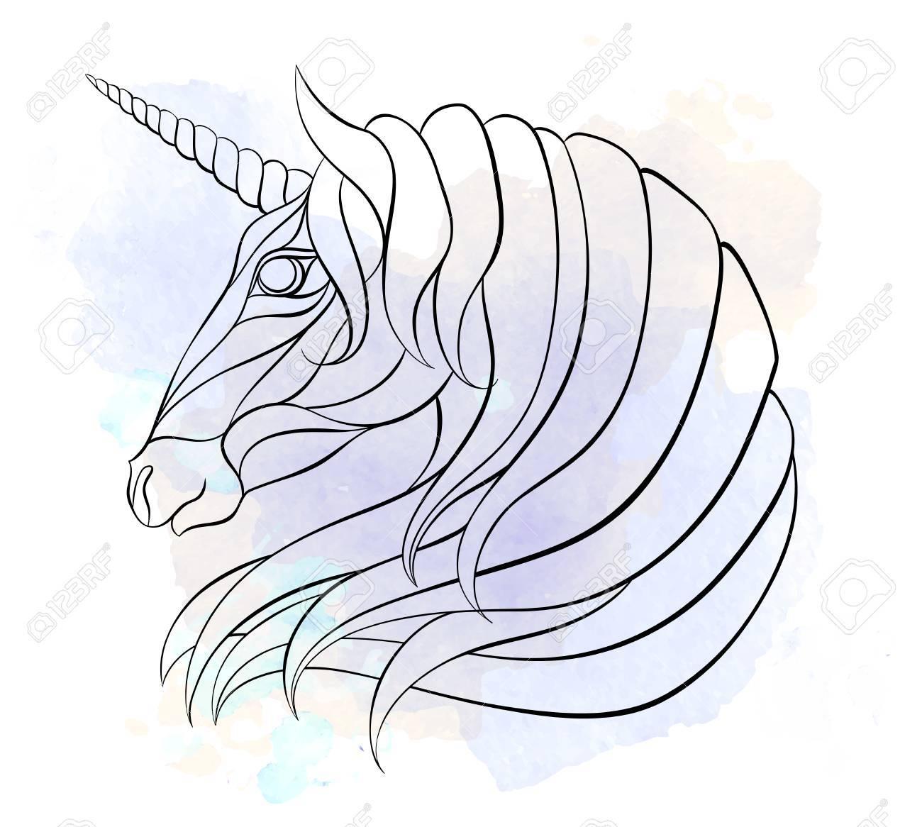 Disegni Da Colorare Testa Di Cavallo.Vettoriale Testa Modellata Dell Unicorno Sullo Sfondo Del Grunge Cavallo Spaziale Disegno Del Tatuaggio Puo Essere Utilizzato Per La Progettazione Di Una T Shirt Borsa Cartolina Un Poster Libro Da Colorare E Cosi