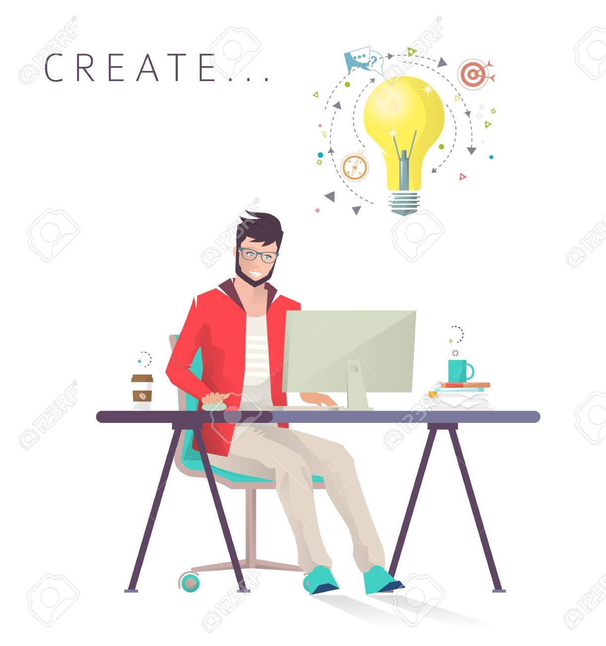 Man works on computer. Designer. Creative process. Business, office work, workplace. Flat design vector illustration. - 74422702