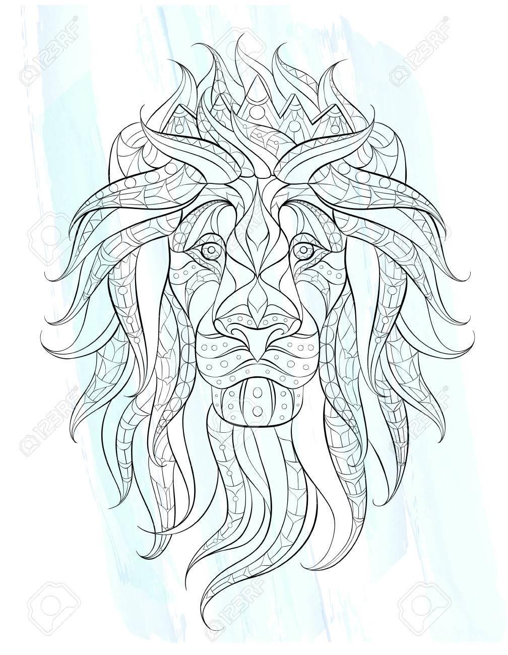 La Tete A Motifs Du Lion Sur Le Fond Grunge Leo Avec Couronne