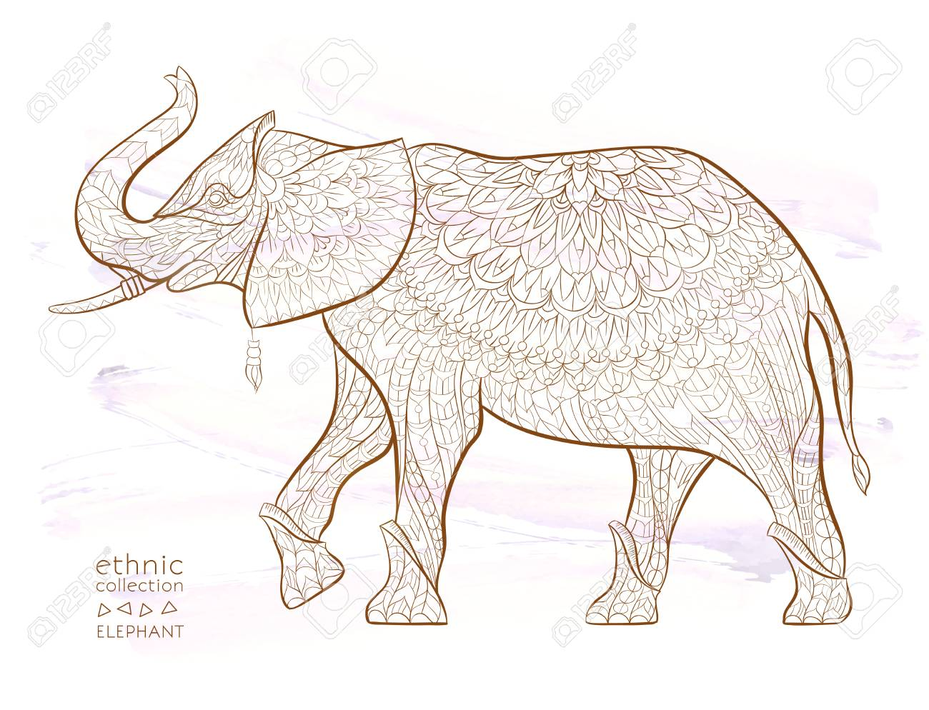 patterned elephant on the grunge background african tattoo