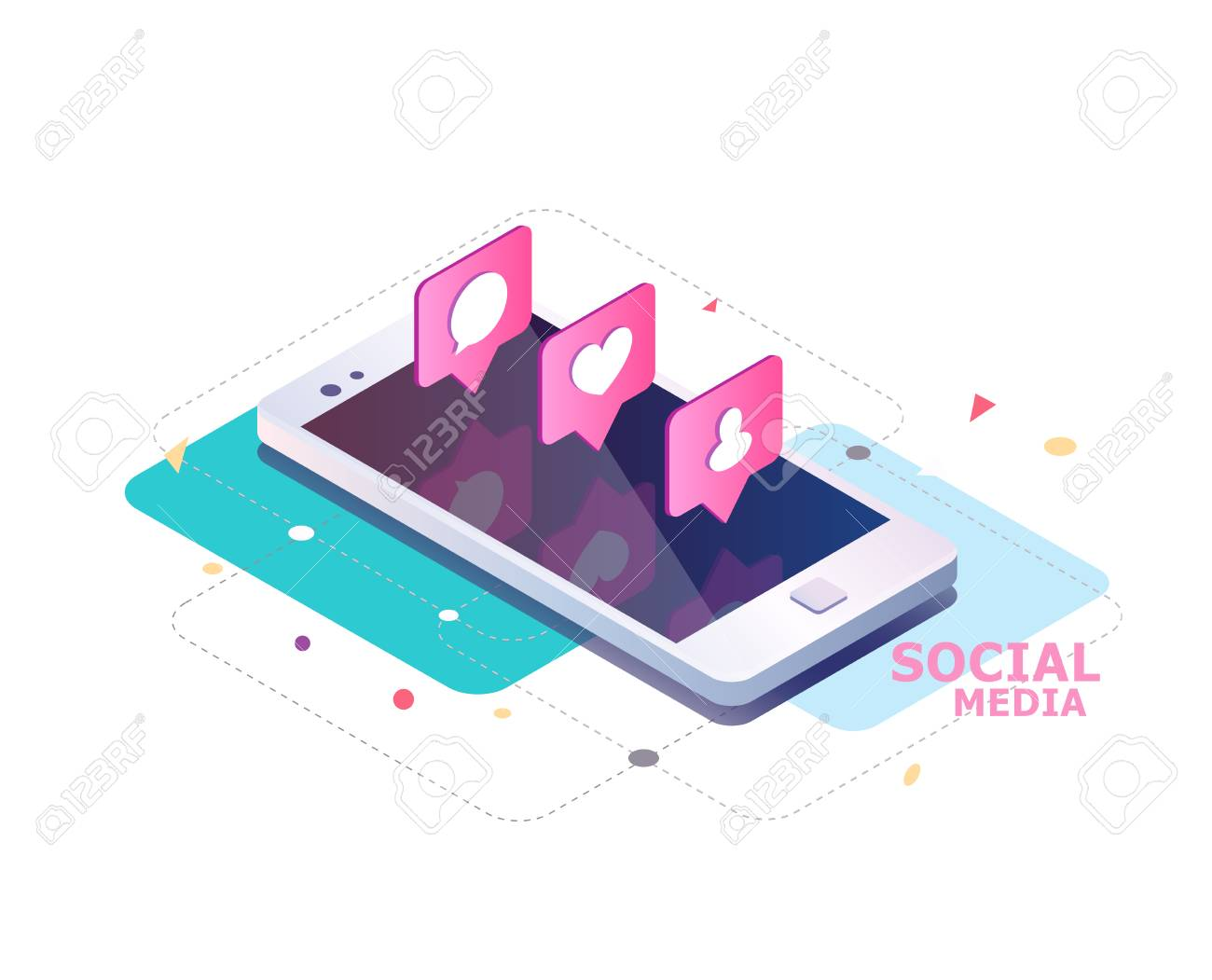 Isometric concept with mobile phone and push notification with likes, new comments, messages and followers. Set of social media notification with appreciation. - 83245357