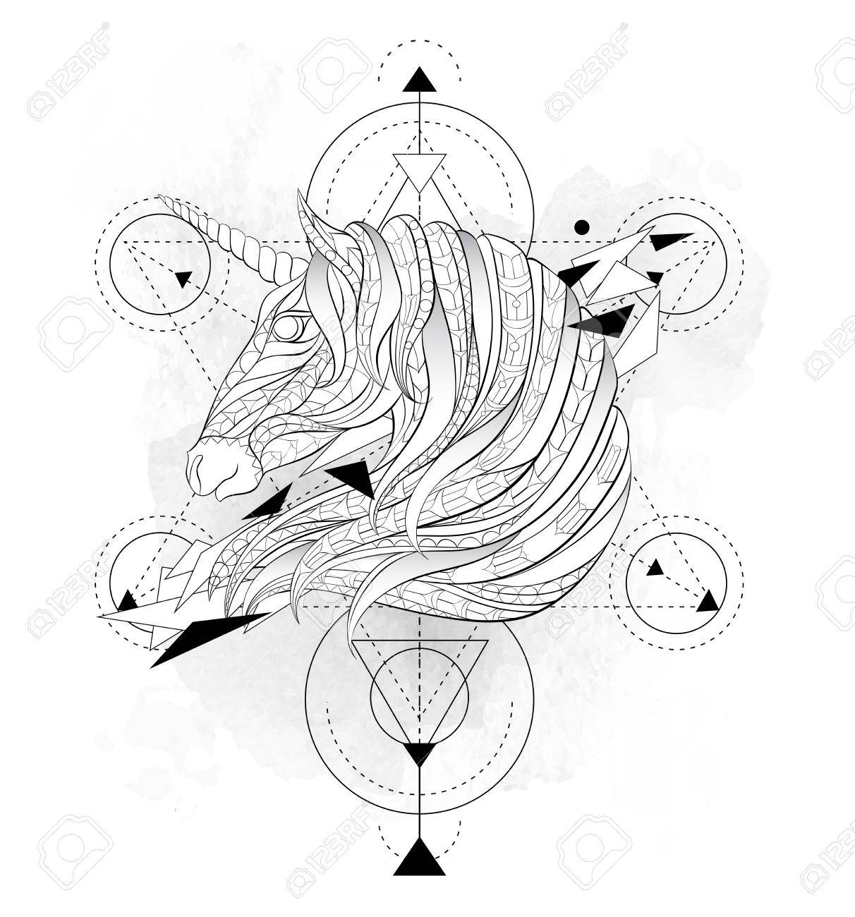 Patterned Head Of The Unicorn With Geometry On Grunge Background Space Horse Tattoo