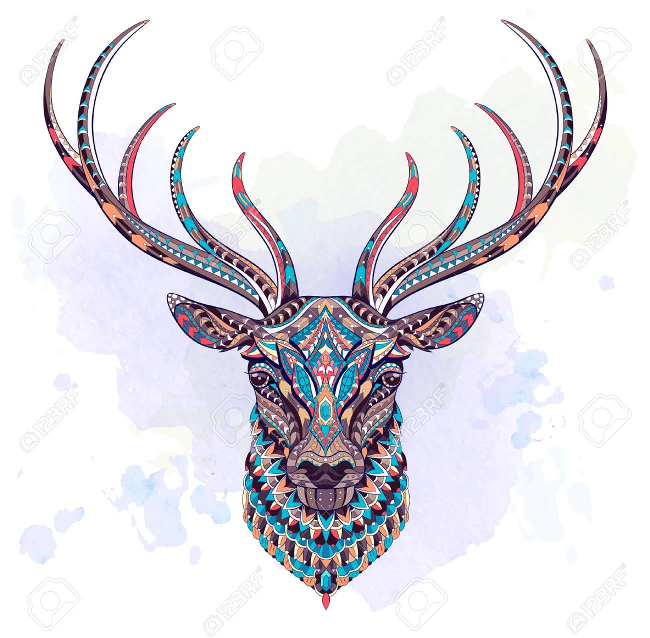 Tete A Motifs Du Cerf Sur Le Fond Grunge Africain Indien Totem Conception De Tatouage Il Peut Etre Utilise Pour La Conception D Un T Shirt Sac Carte Postale Une Affiche Et Ainsi De