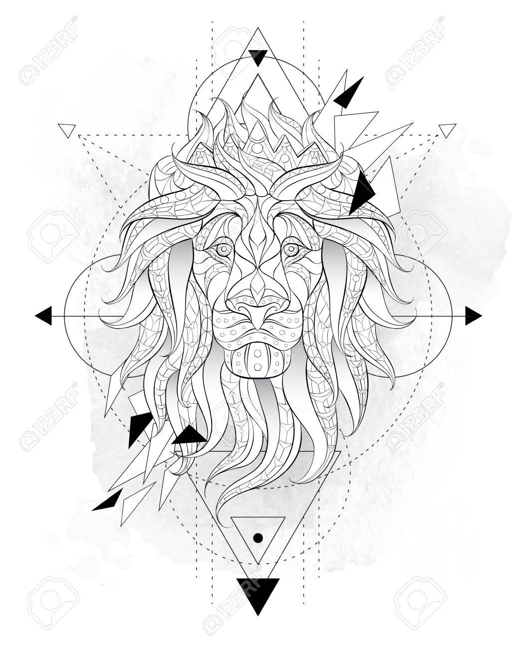 Patterned Head Of The Lion With Geometry On The Grunge Background