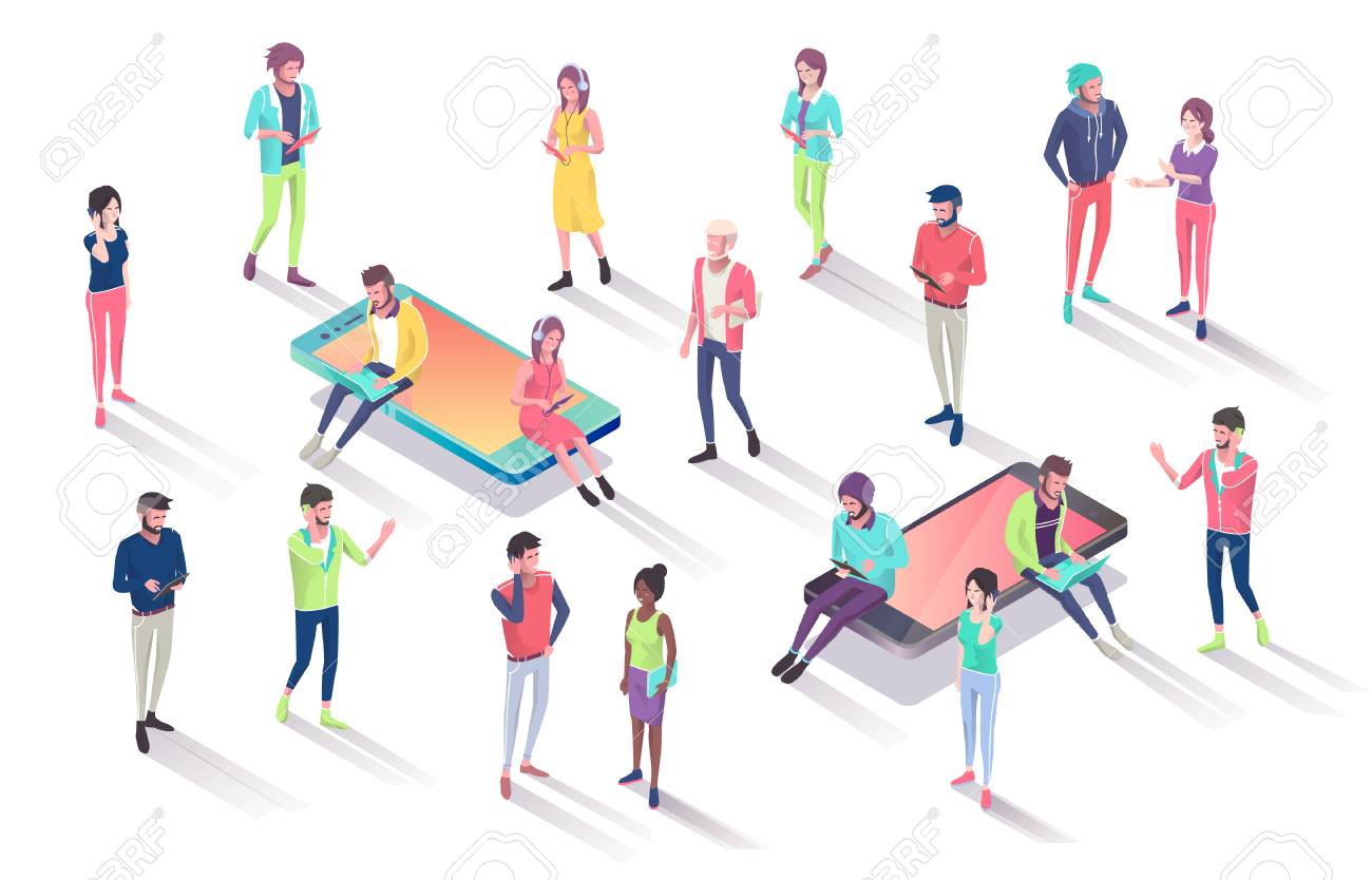 Isometric concept with mobile phone, people and push notification with likes, new comments, messages and followers.Vector illustration. - 127594140