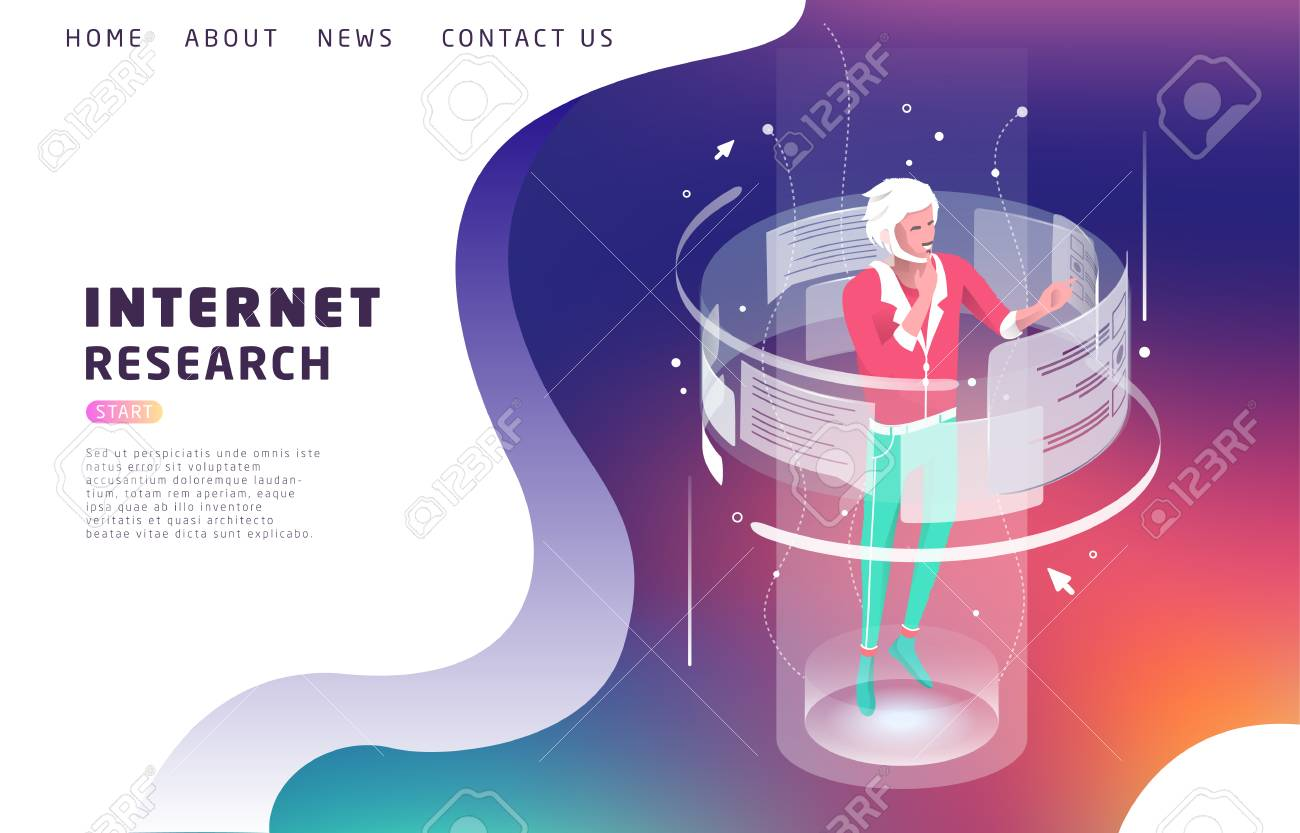 Isometric concept with man and augmented reality. Internet research. Vector illustration. - 127594145