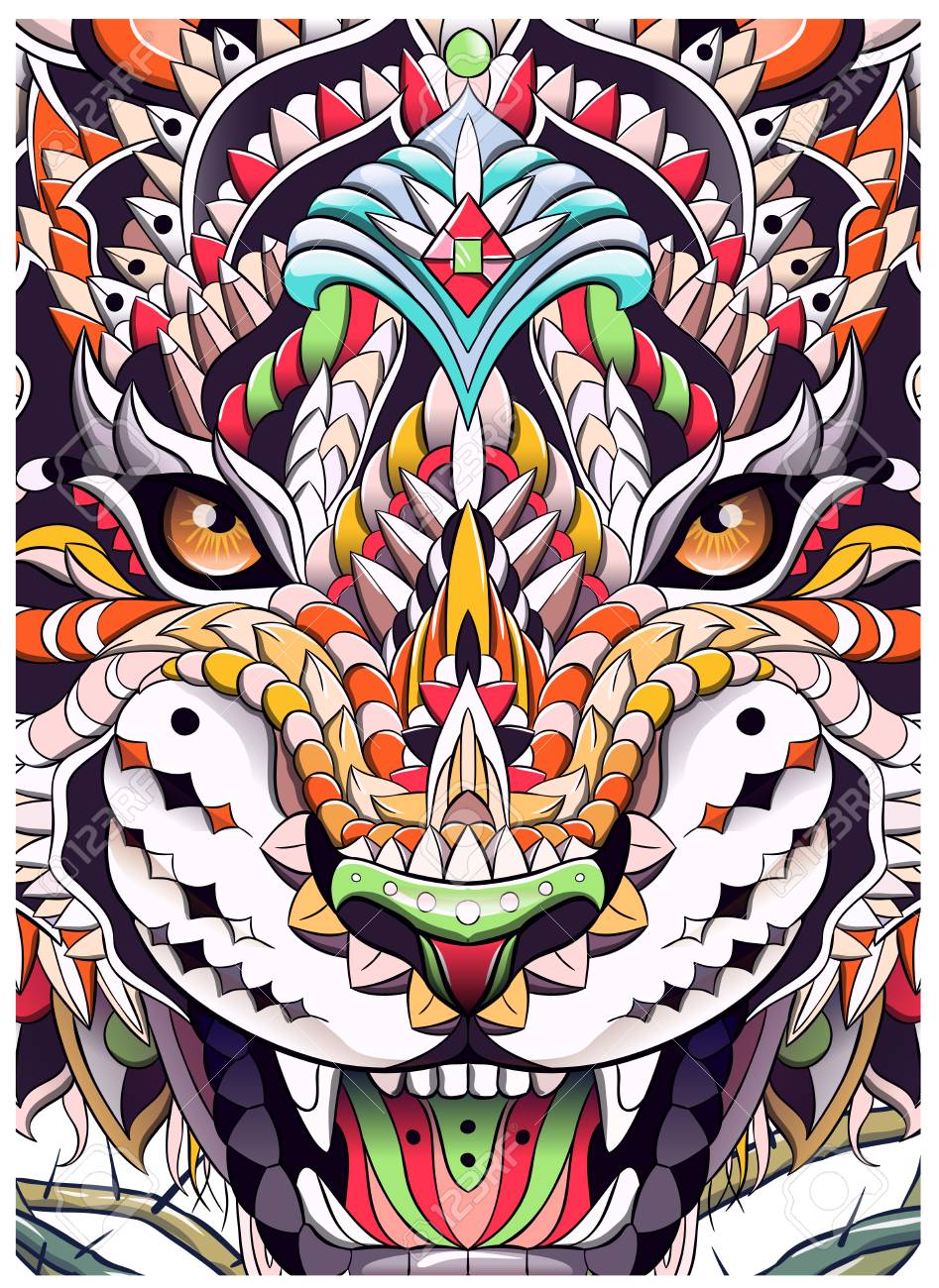 Patterned head of the roaring tiger. African, indian, totem, tattoo design. It may be used for design of a t-shirt, bag, postcard, a poster and so on. - 117031860