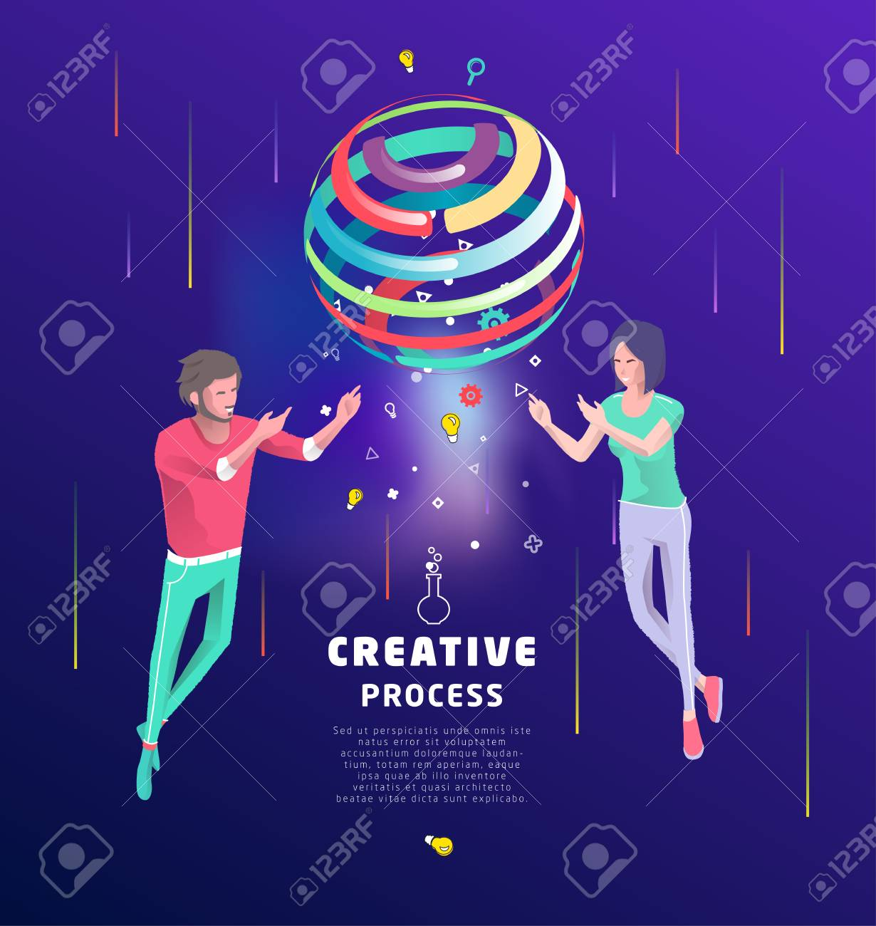 Isometric concept of creative concept. Two people create new ideas with sphere. Business concept. Vector illustration. - 127594149