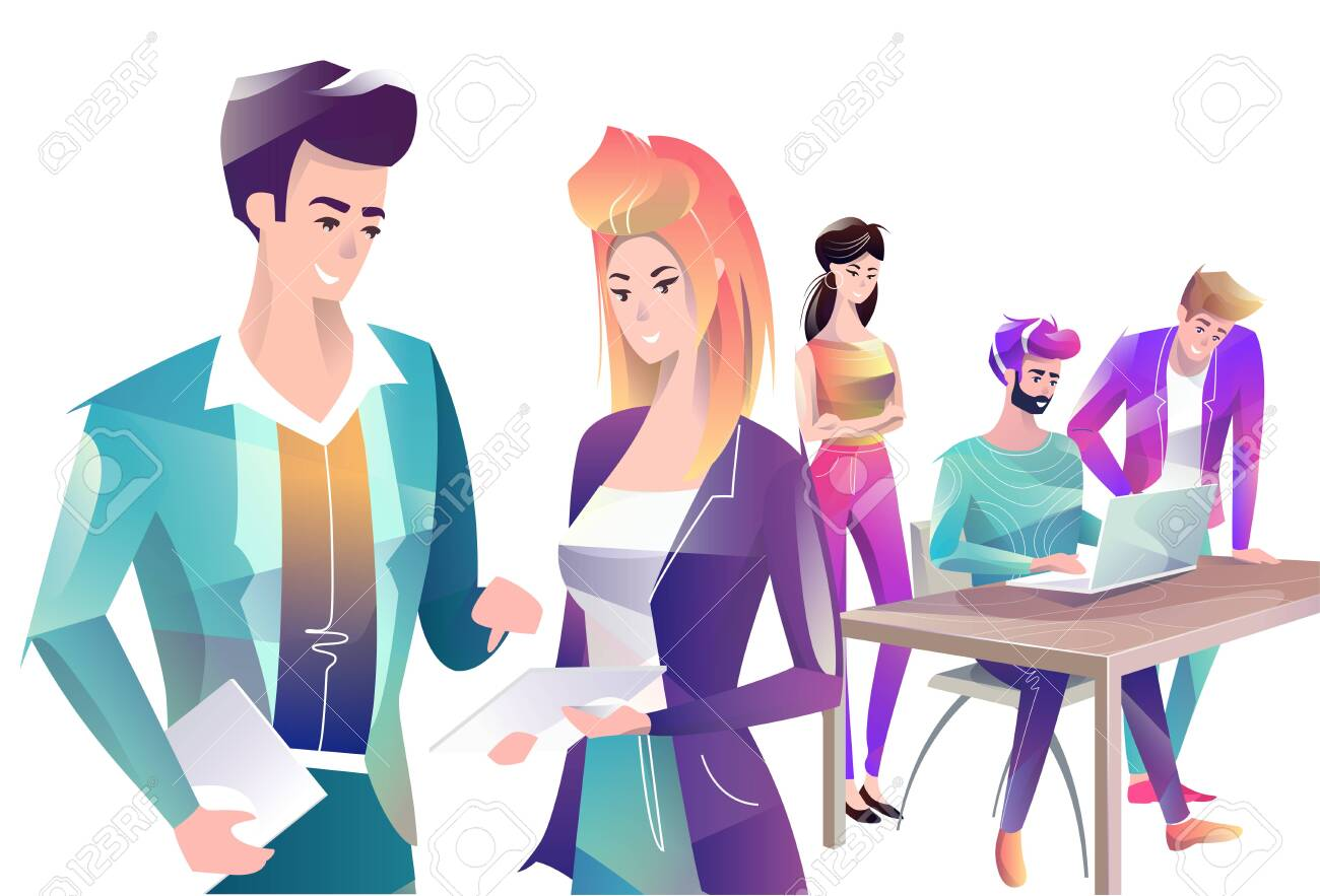 Concept in flat style with office workers. Man and woman are using a digital tablet. On the background man and woman are looking at laptop. Creative atmosphere. Vector illustration. - 122413452