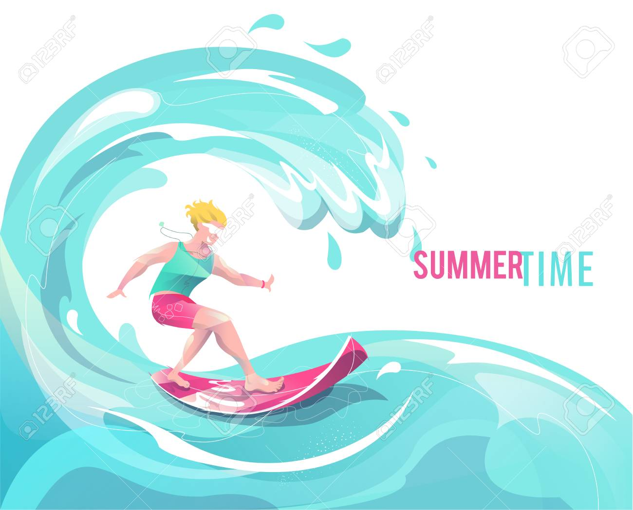 Concept in flat style with surfing man. Vacation, relaxion, extreme. Vector illustration. - 122413453
